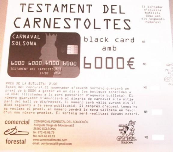 El Carnaval de Solsona sorteja 6.000 euros per gastar en un sol dia