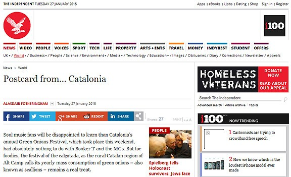 «The Independent», meravellat pel «Catalonia's annual Green Onions Festival» de Valls
