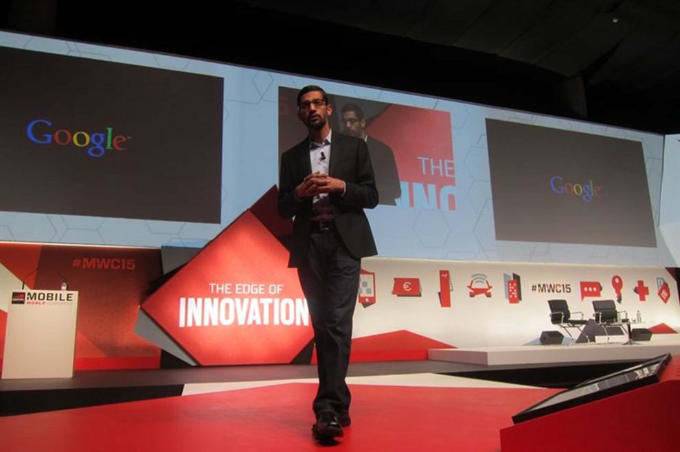 Sundar Pichai a la conferència del MWC.