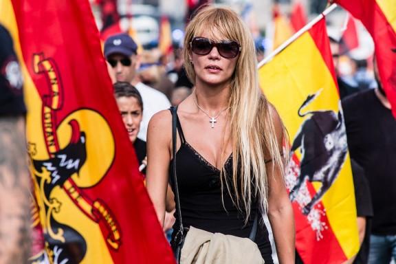 Manifestació feixista a Montjuïc