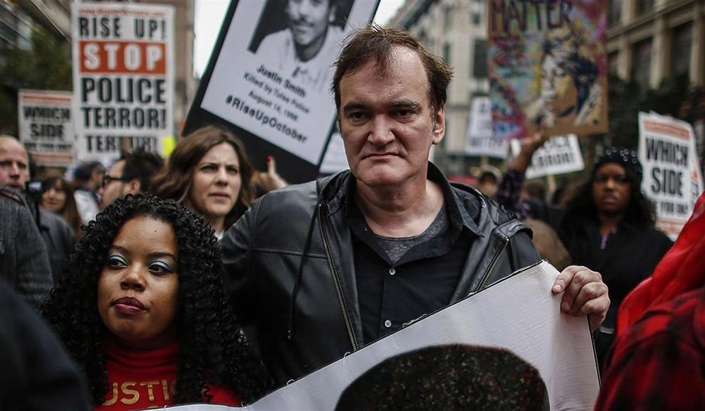 Quentin Tarantino a la manifestació en contra de la violència policial