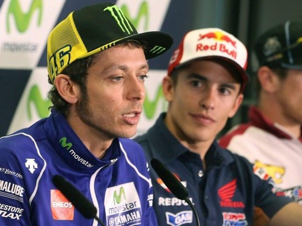 Rossi i Márquez, en una roda de premsa