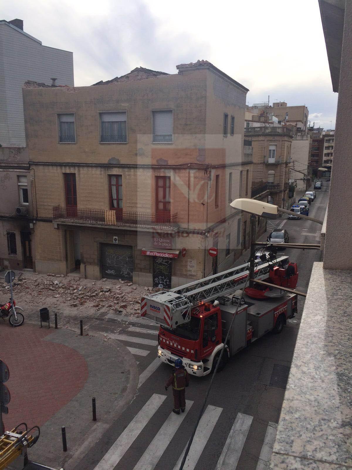 Afectació pel vent a la plaça Vallès