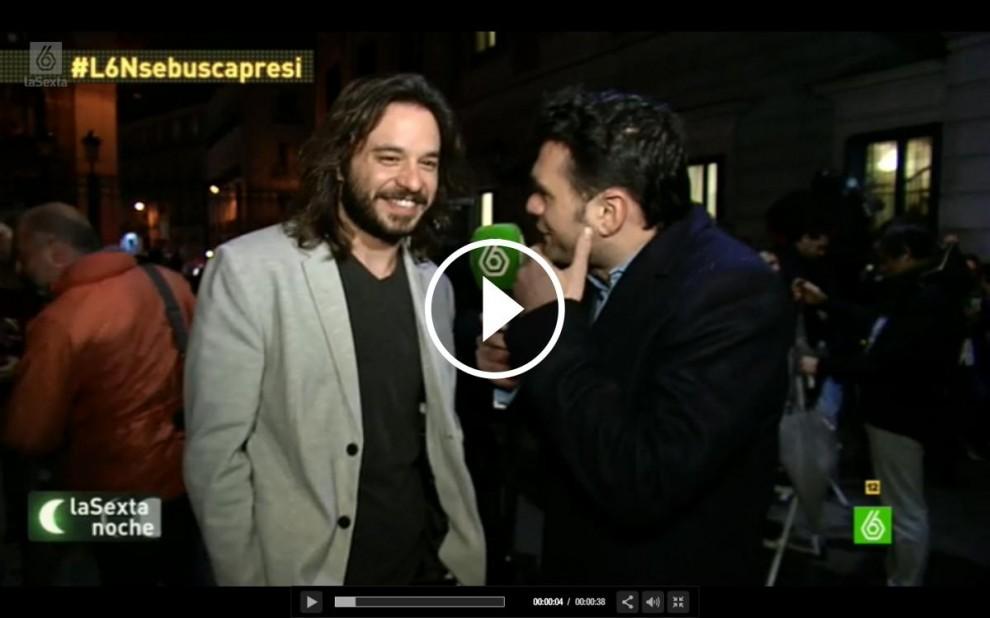 El diputat de Podem, Miguel Vila, durant l'entrevista amb La Sexta Noche