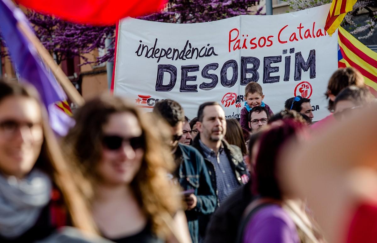 Una de les pancartes que s'han vist a la manifestació en suport de Joan Coma