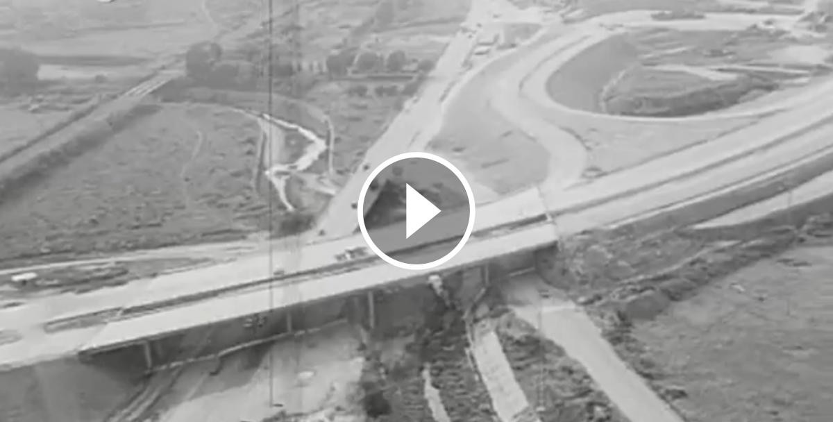 La construcció de l'autopista C-50 al seu pas per Cerdanyola