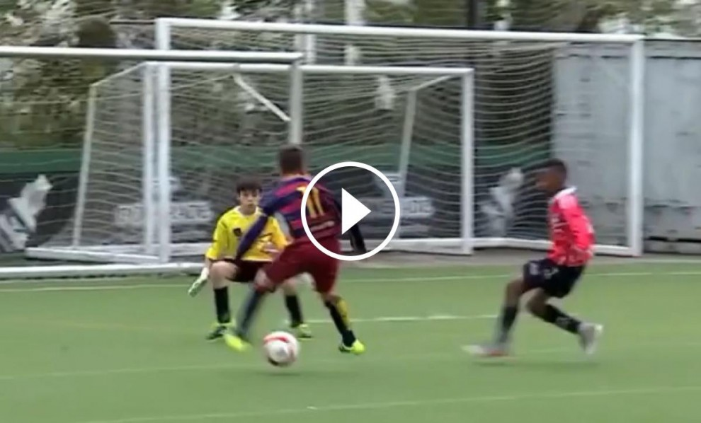 Vídeo del gol que va marcar un dels jugadors de l'equip aleví a blaugrana