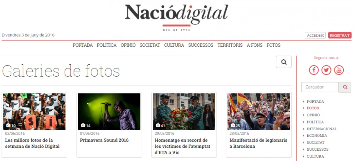 Llista de galeries de fotos de NacióDigital