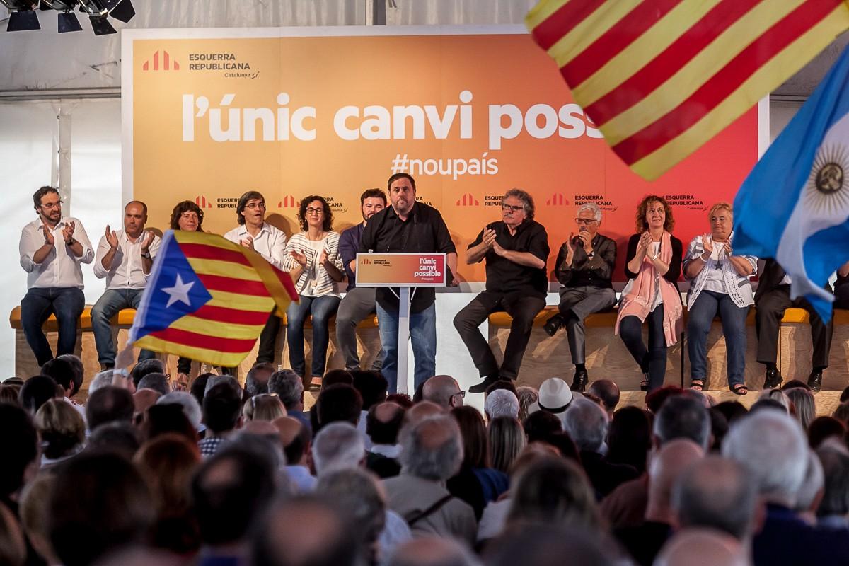 El president d'ERC, Oriol Junqueras, en l'acte d'aquest dissabte