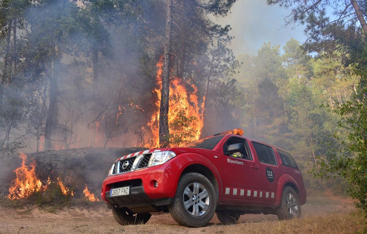 Les flames, a prop d'un cotxe dels Bombers de la Generalitat