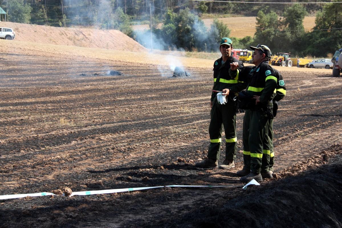 Els Agents Rurals estudien el terreny on es creu que ha començat el foc de Sant Feliu Sasserra