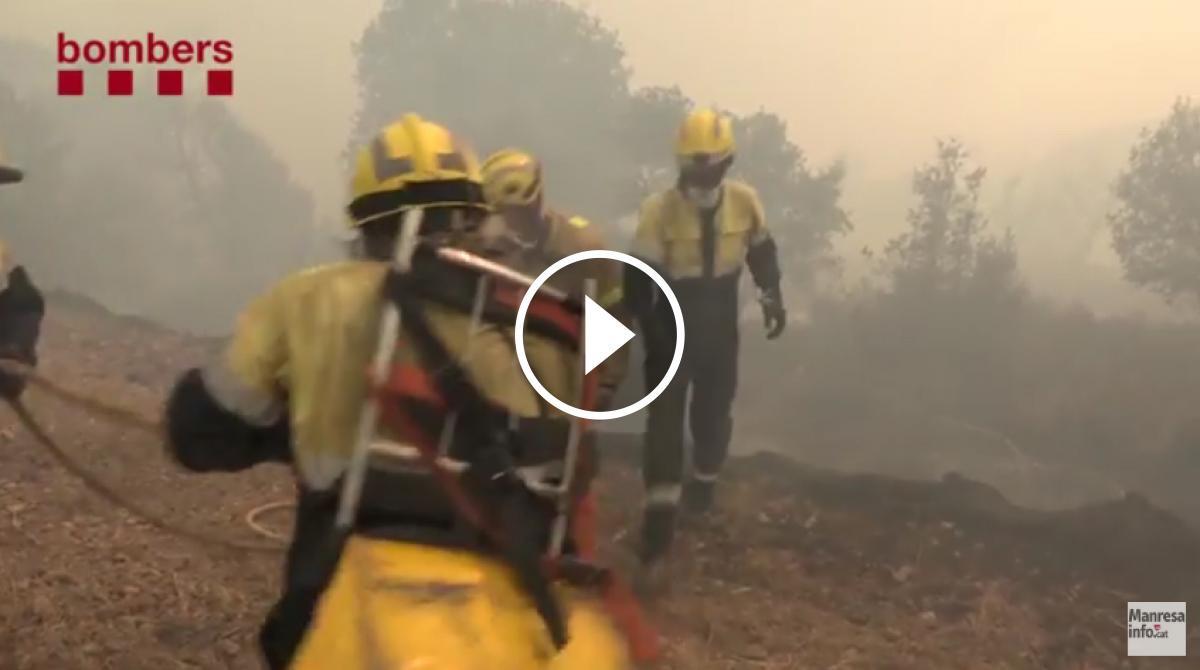 Vídeo de l'actuació dels Bombers a l'incendi de Sant Feliu Sasserra