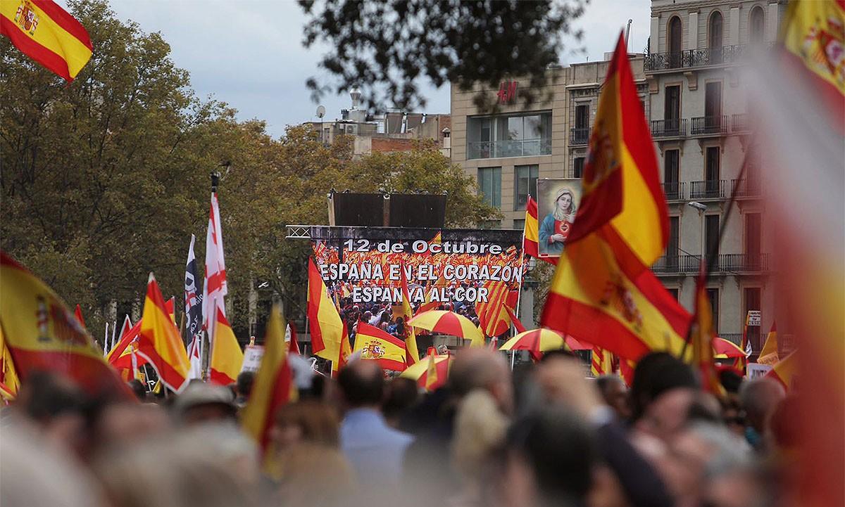 La manifestació espanyolista del 12-O, a plaça Catalunya
