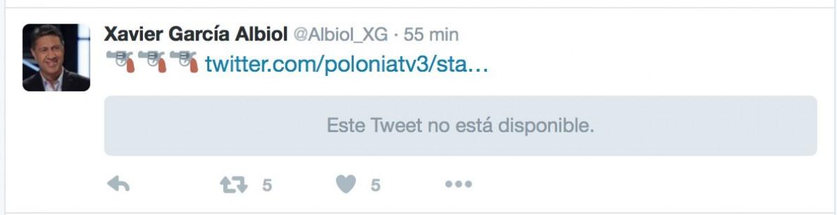 La polèmica piulada de García Albiol que ha estat eliminada.