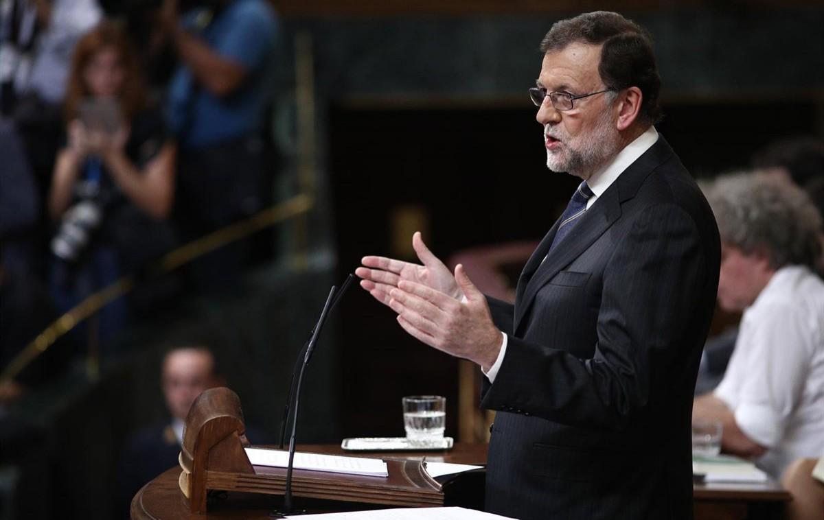 Mariano Rajoy, en ple discurs del debat d'investidura