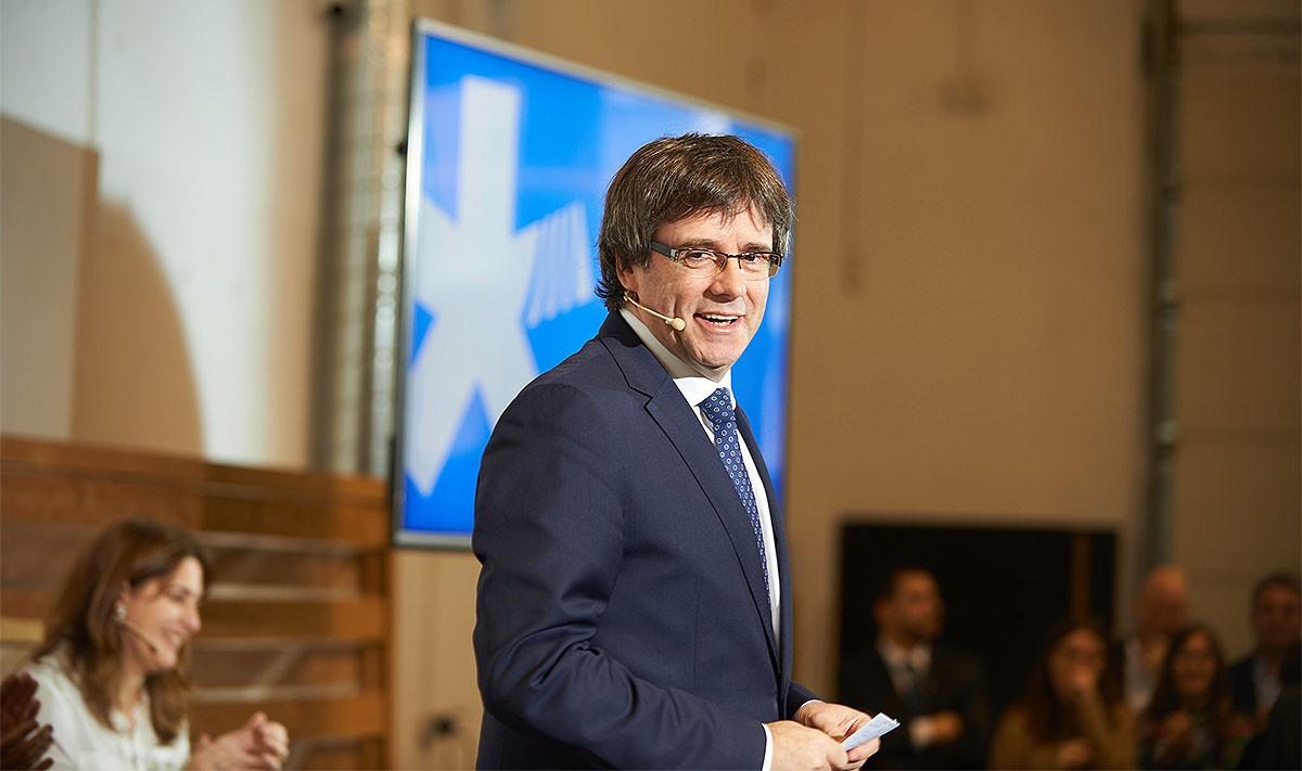 El president Puigdemont, el dia de la presentació del logo del nou partit