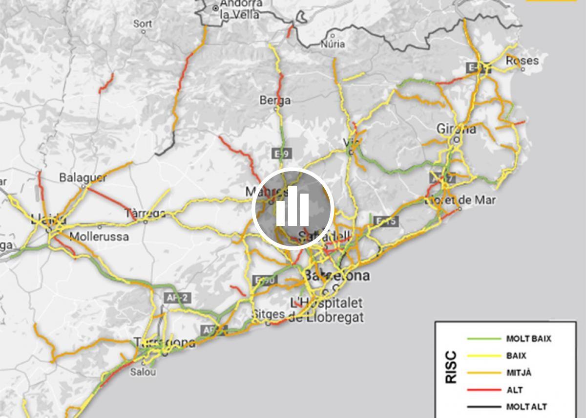 Mapa del risc d'accident a les carreteres catalanes