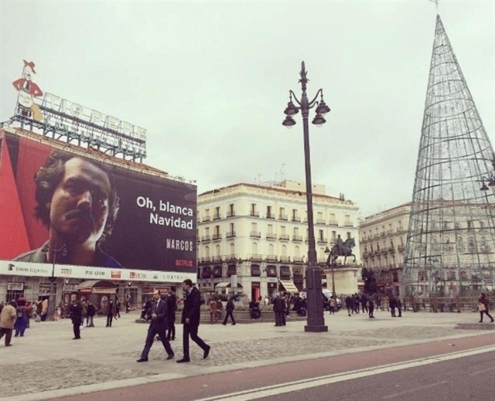 L'anunci de Narcos a la Puerta del Sol de Madrid