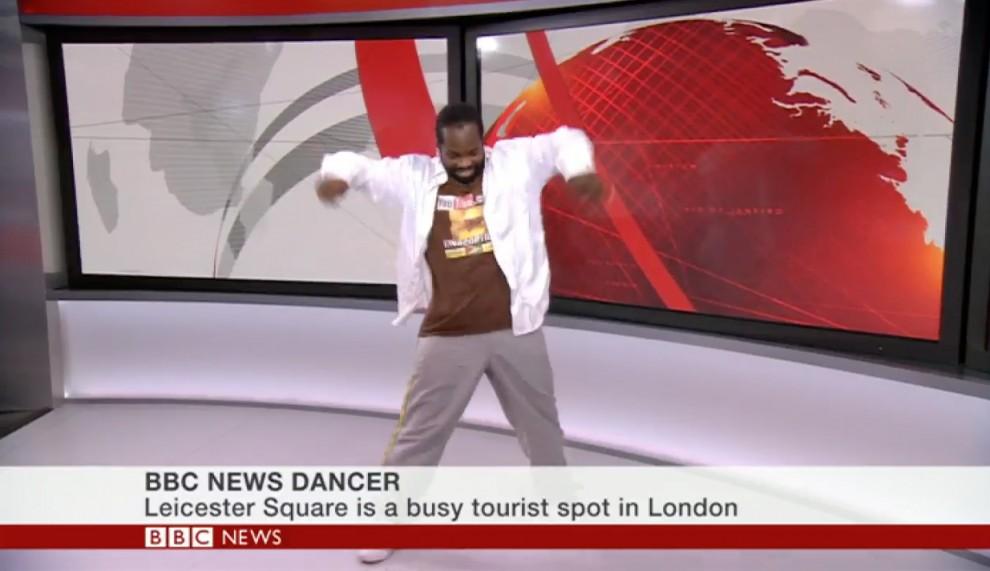 Corville Cuffy en la seva actuació al plató de la BBC
