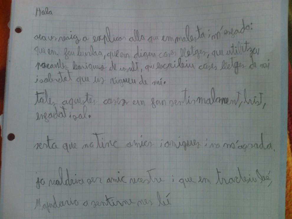 La carta escrita pel menor