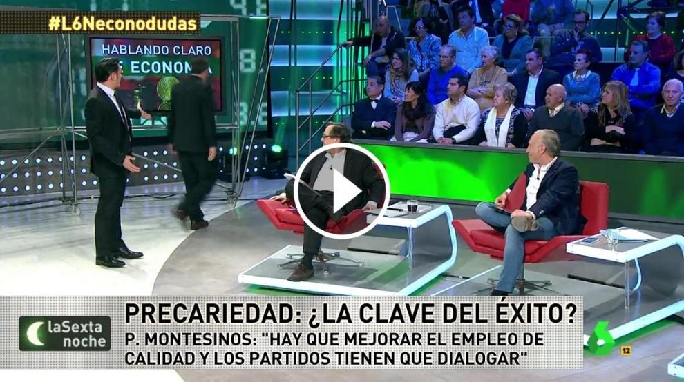 Juan Torres marxa del plató davant l'atònita mirada del presentador, de Paco Marhuenda i d'Eduardo Inda