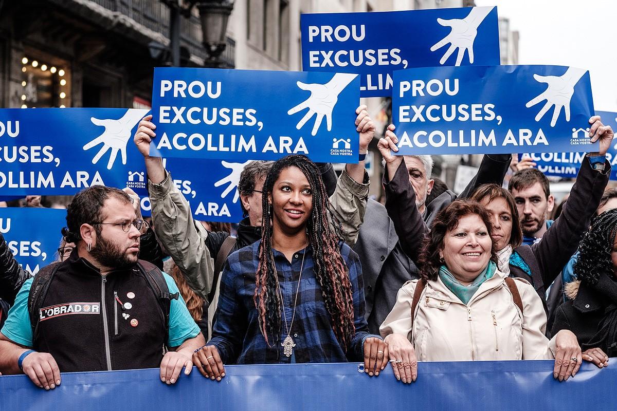 Manifestació «Volem acollir»  a Barcelona, el 18 de febrer de 2017.