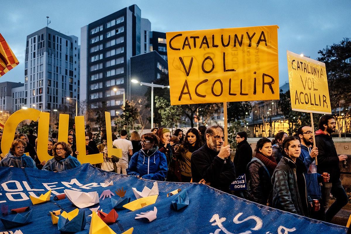Manifestació a favor de l'acollida de refugiats, el 2017 a Barcelona.