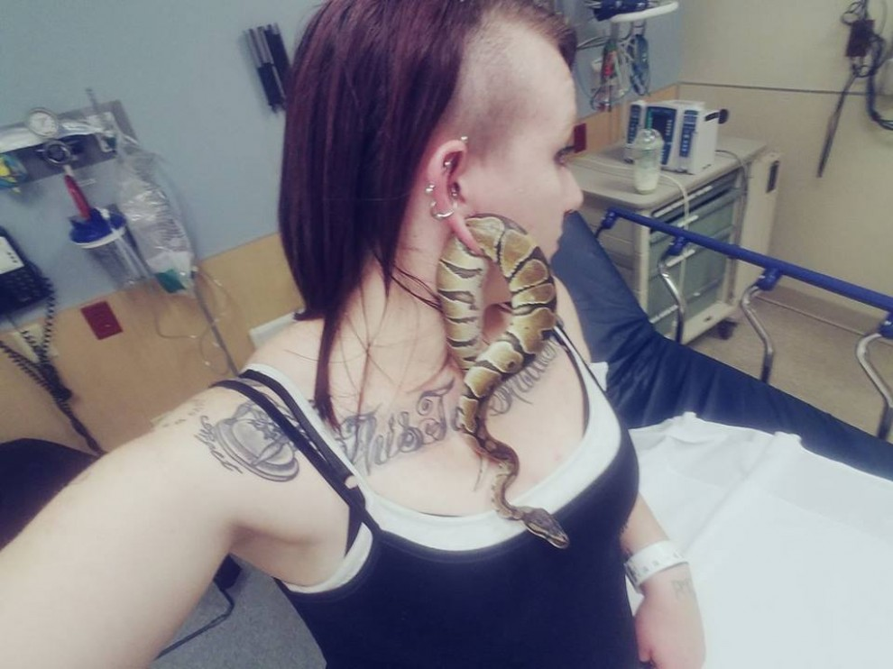 La serp, encallada a l'orella de la seva propietària