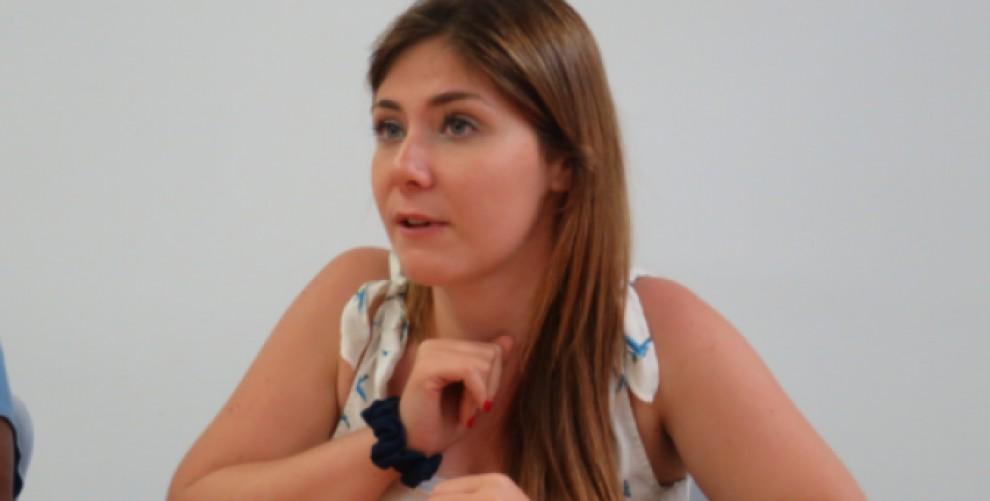 Alyson Soler, en una de les seves xerrades per l'ANC de Sabadell