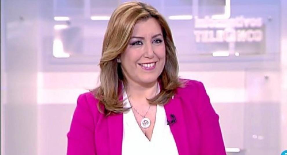 Susana Díaz, durant l'entrevista a Telecinco