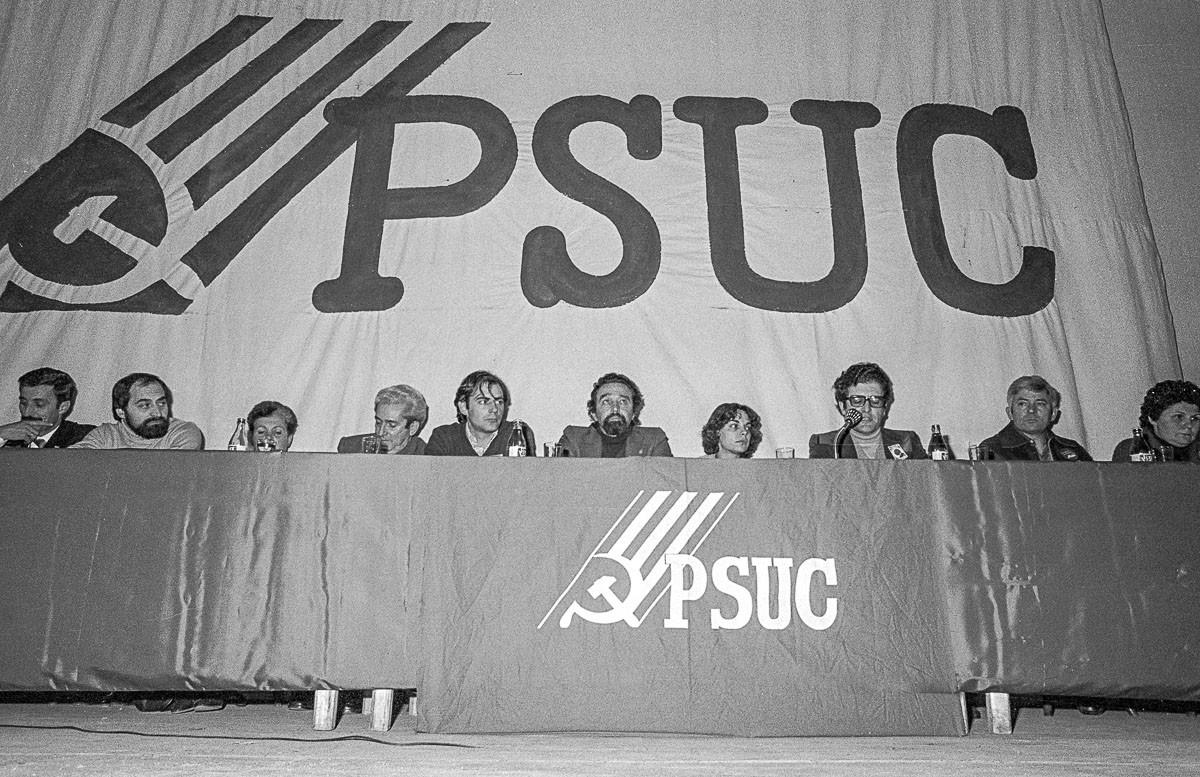 Míting del PSUC el 1980, amb Gutiérrez Díaz i Marcelino Camacho, de CCOO.