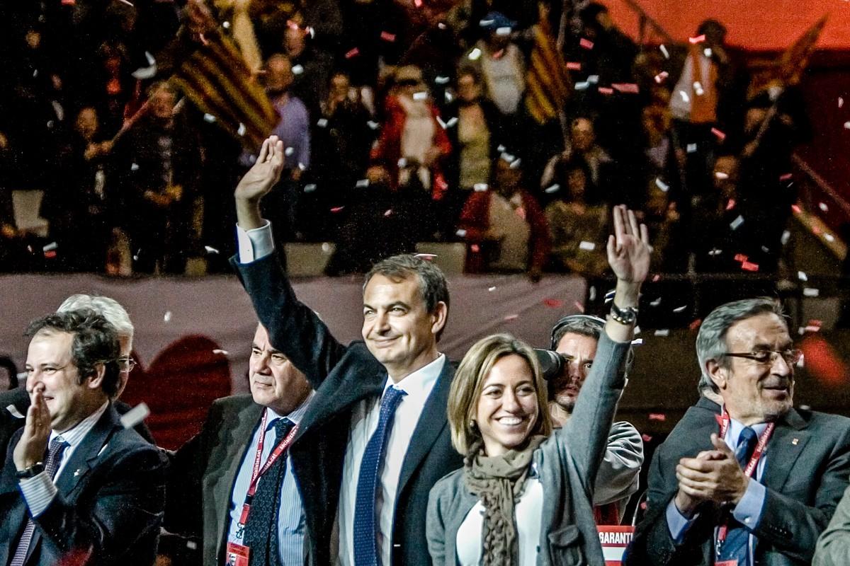 Zapatero i Chacón, en un míting de la campanya a les eleccions del Parlament del 2010