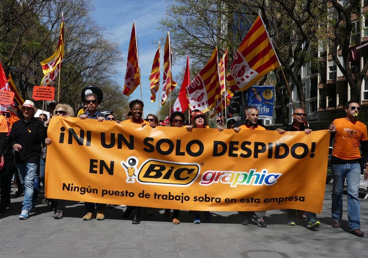 Imatge d'arxiu una protesta sindical a BIC Graphic.