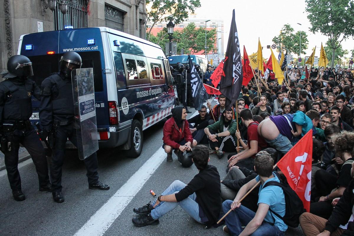 La manifestació d'estudiants universitaris d'aquest dijous