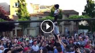VÍDEO L'espectacular «pilar a la veracreu» dels Castellers de Terrassa