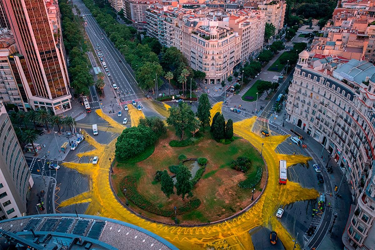 La plaça Francesc Macià, vista des de l'aire