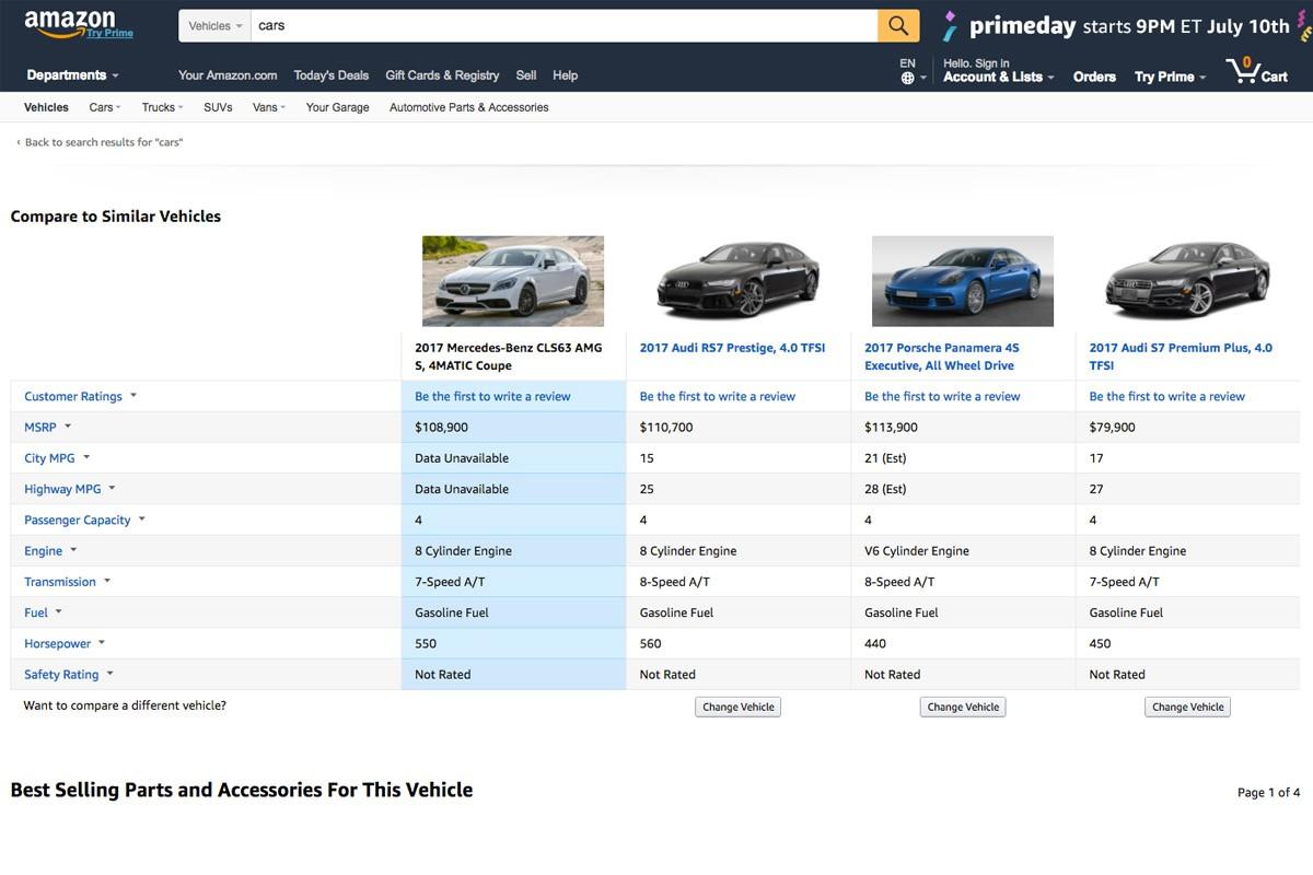 Amazon vol canviar la manera en que comprem els cotxes