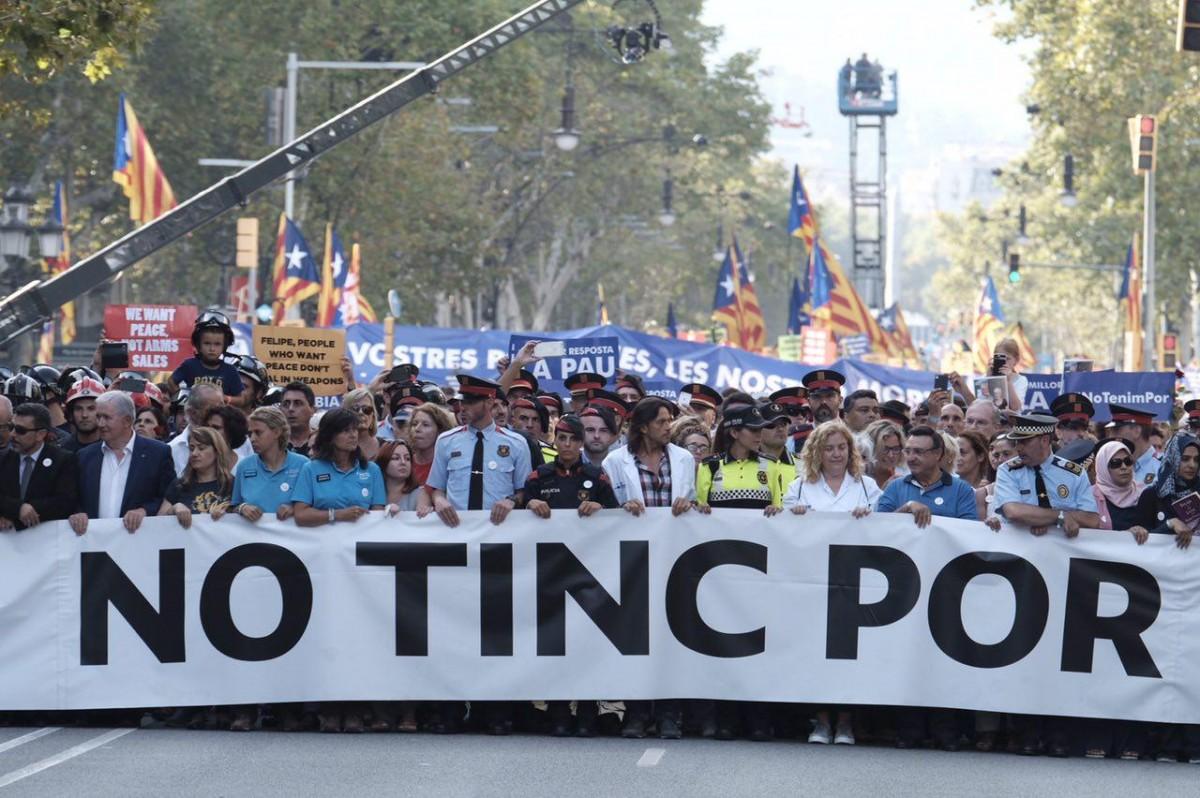 Capçalera de la manifestació #NoTinc Por