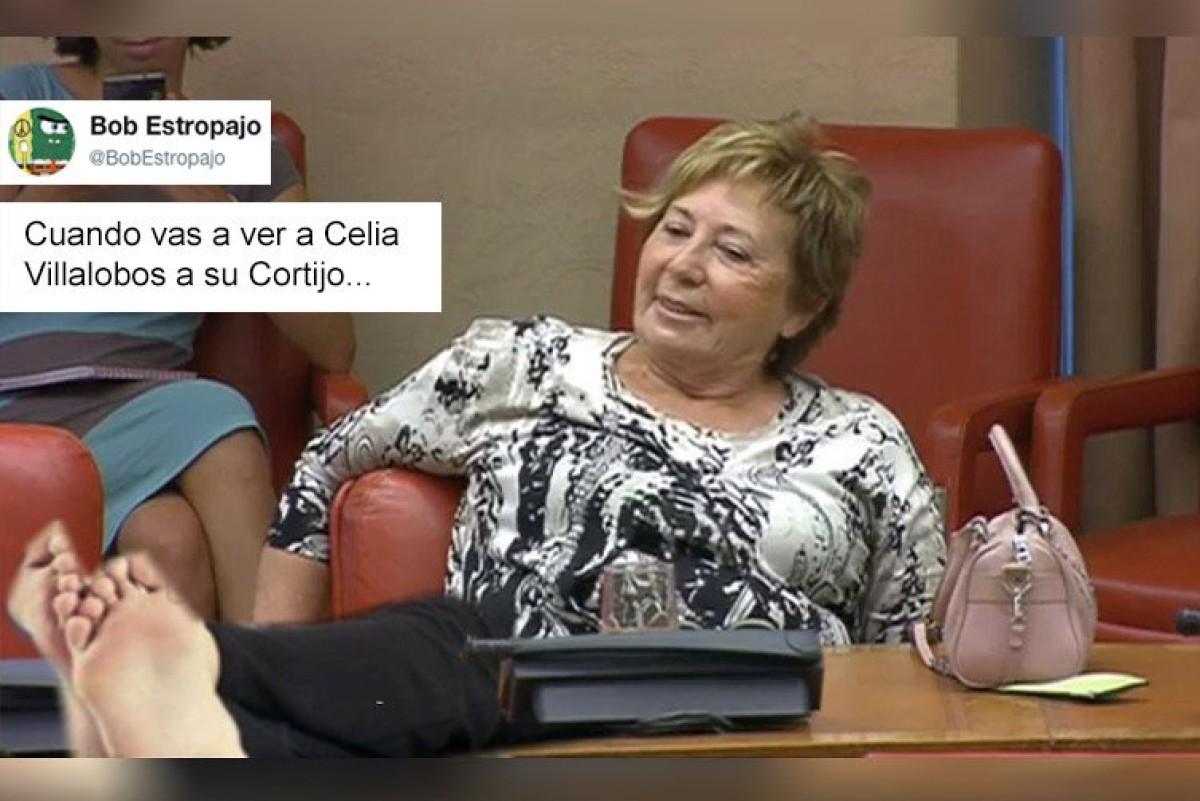 Celia Villalobos, en un muntatge, asseguda al Congrés