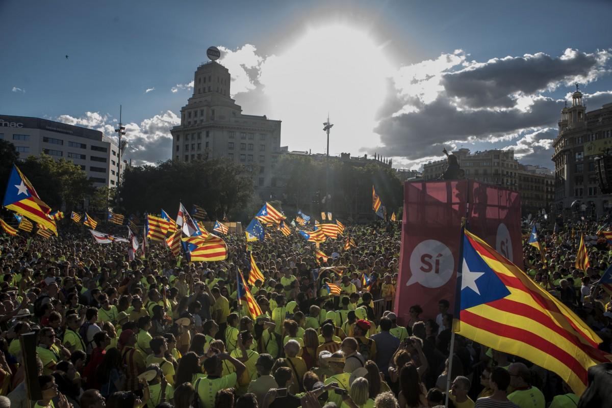 Imatge de la manifestació de l'11 de setembre a Plaça Catalunya