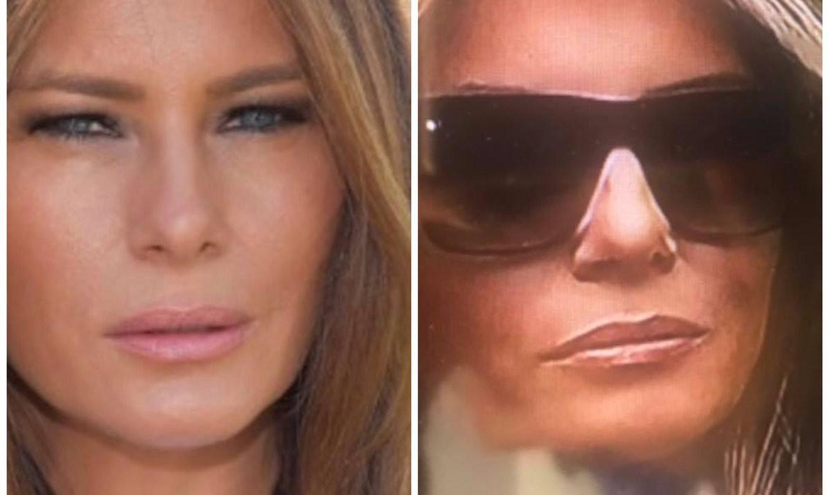 Imatge que posa sobre la taula una possible doble de Melania Trump