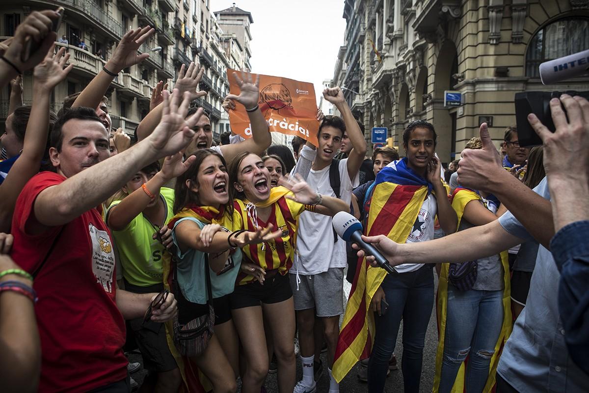 Dia de l'aturada general a Via Laietana