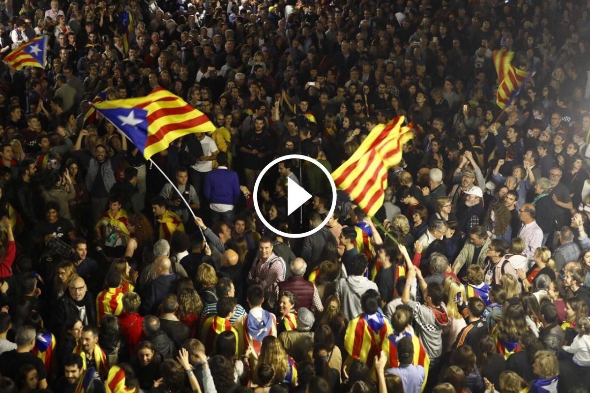 Concentració per celebrar la independència a Sabadell