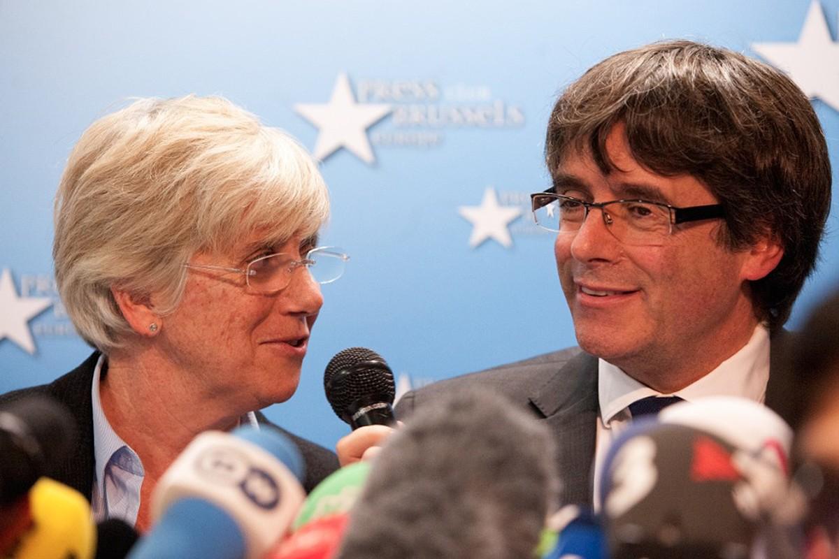 Ponsatí i Puigdemont, durant la roda de premsa a Brussel·les