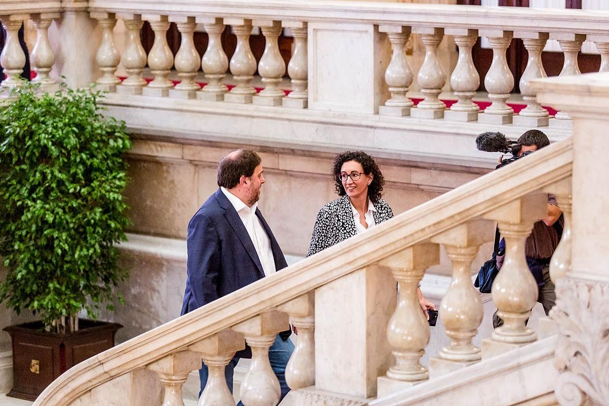 Oriol Junqueras i Marta Rovira, en una imatge d'arxiu al Parlament
