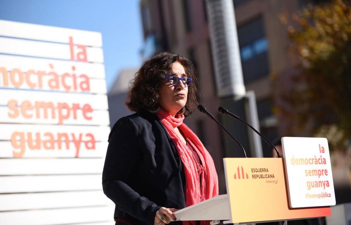 Aurora Carbonell, durant un acte de campanya.