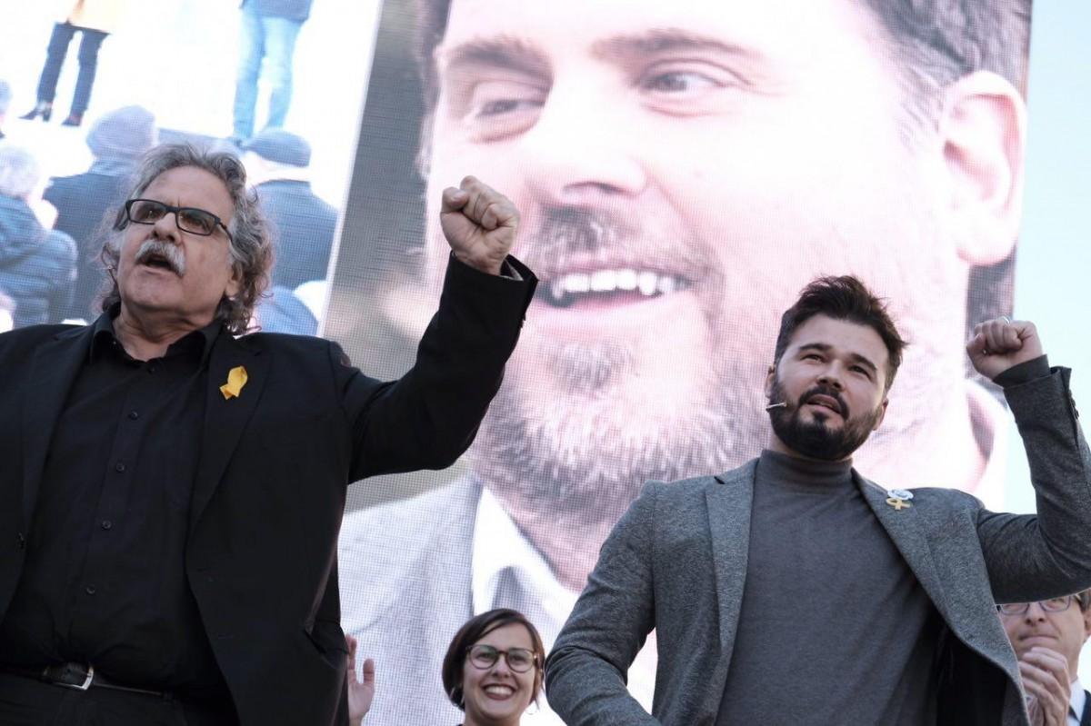Joan Tardà i Gabriel Rufián, en un acte electoral d'ERC