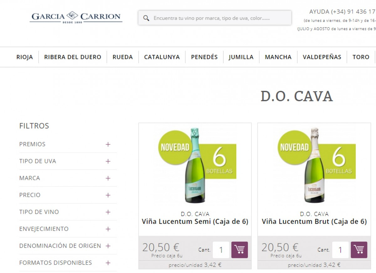 Captura del web de García Carrión
