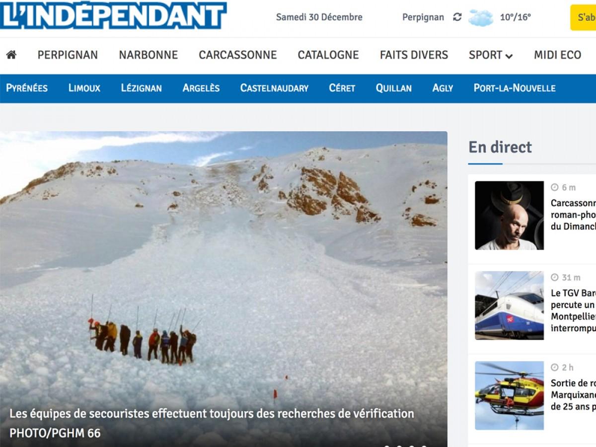 Portada de l'edició digital de L'Independant de la Catalunya del Nord aquesta tarda