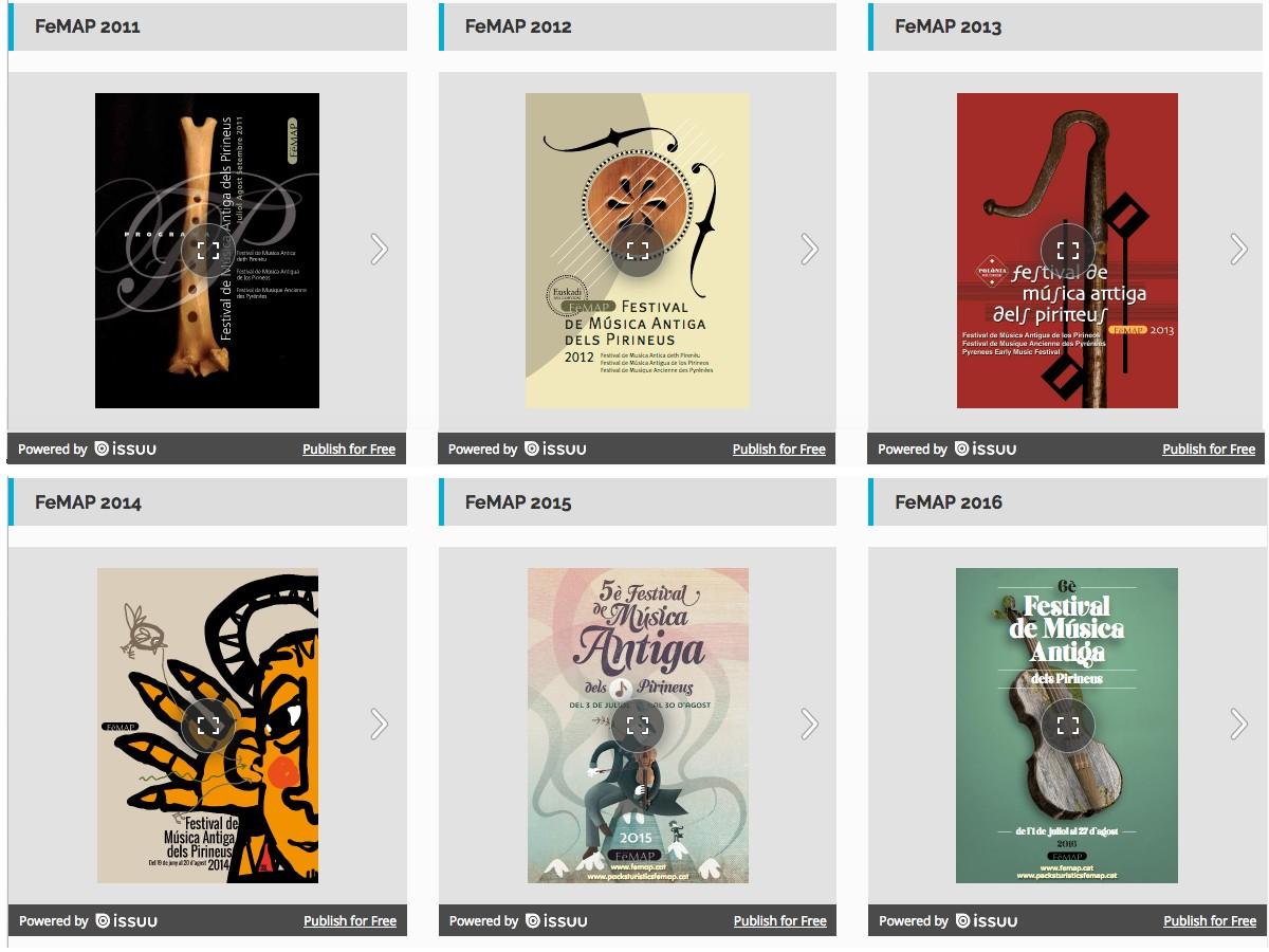 Mostra de cartells d'edicions anteriors del Festival de Música Antiga dels Pirineus (FeMAP)